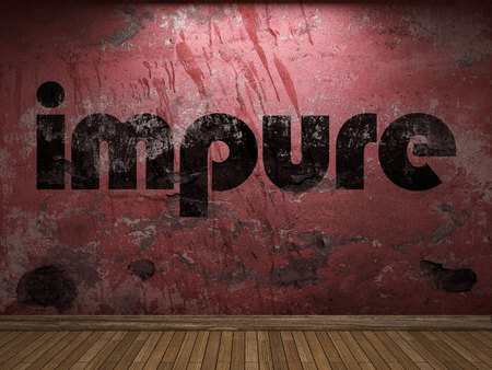 impure: impure word on red wall Stock Photo