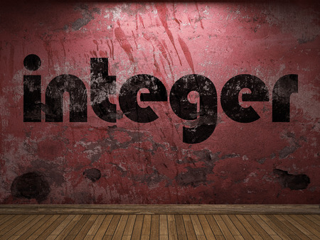 integer: integer word on red wall Stock Photo