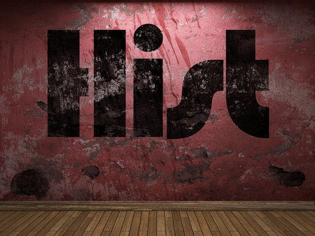 hist: Hist word on red wall Stock Photo