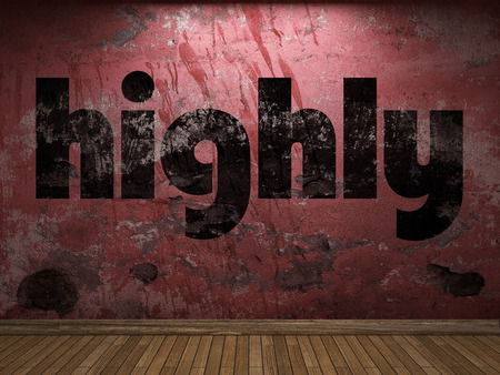 highly: highly word on red wall Stock Photo
