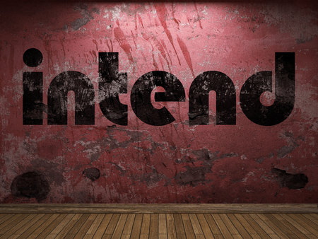 intend: intend word on red wall Stock Photo