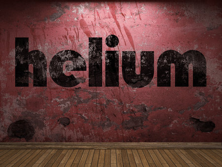 helium: helium word on red wall