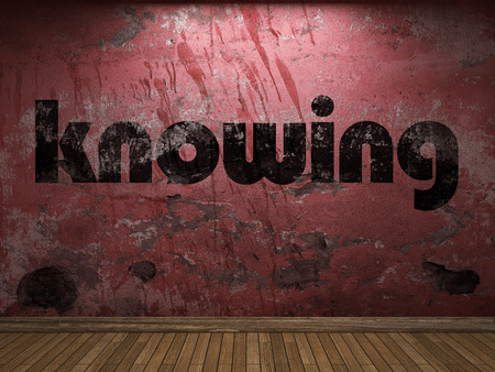 knowing: knowing word on red wall