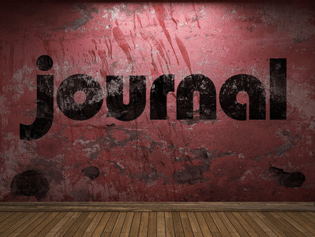 journal word on red wall