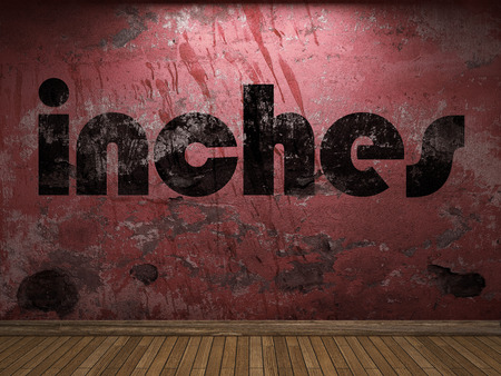 inches: inches word on red wall