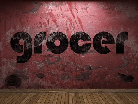 grocer: grocer word on red wall