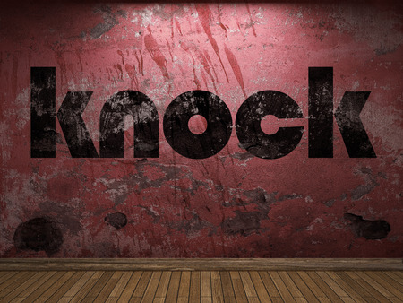 knock: knock word on red wall Stock Photo
