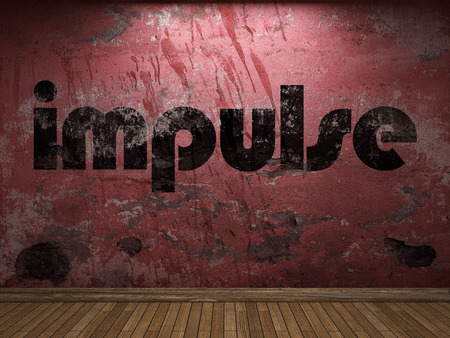 impulse: impulse word on red wall Stock Photo