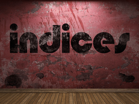 indices: indices word on red wall Stock Photo