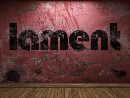 lament: lament word on red wall Stock Photo