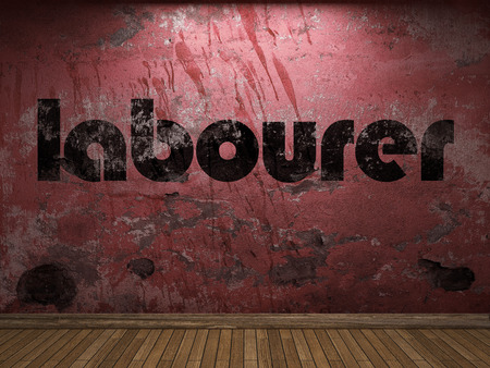 obrero: palabra obrero en la pared roja