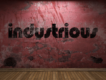 industrious: industrious word on red wall