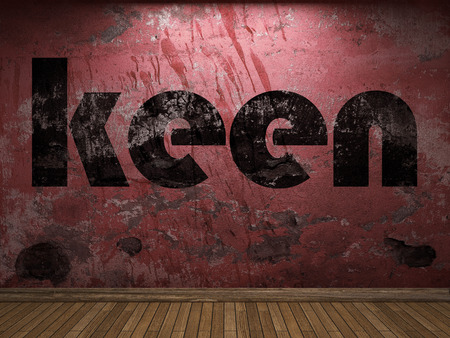 keen: keen word on red wall