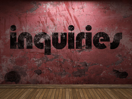 inquiries: inquiries word on red wall