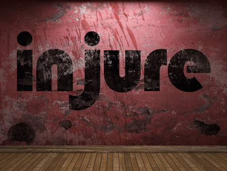 injure: injure word on red wall