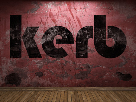 kerb: kerb word on red wall