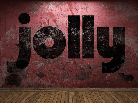 jolly: jolly word on red wall