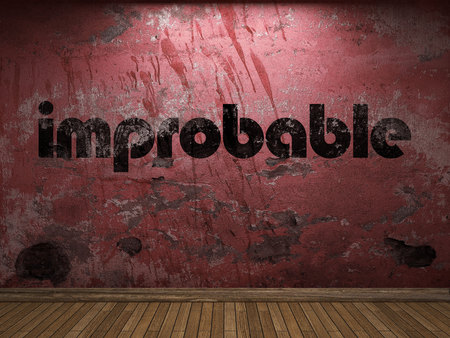 improbable: improbable word on red wall