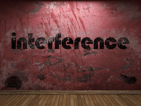 interference: interference word on red wall