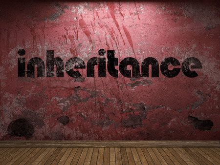 the inheritance: inheritance word on red wall