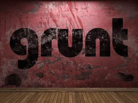 grunt: grunt word on red wall