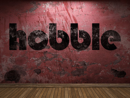 hobble: hobble word on red wall