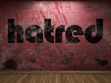 hatred: hatred word on red wall