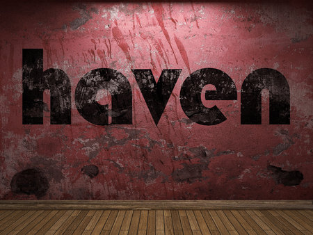 haven: haven word on red wall