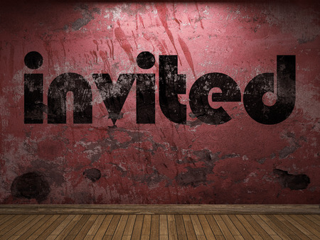 invited: invited word on red wall