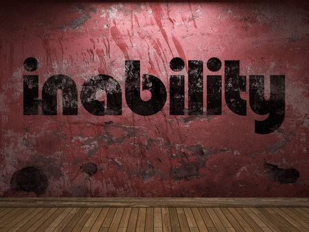 inability: inability word on red wall Stock Photo