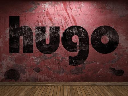 hugo: hugo word on red wall