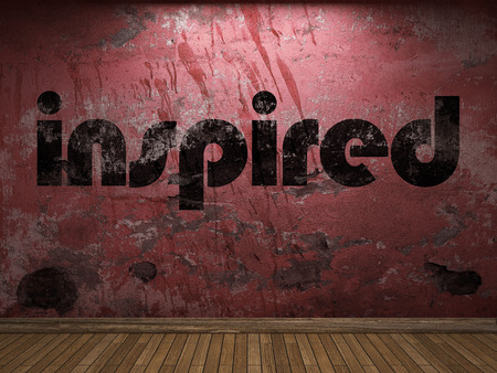 inspired: inspired word on red wall