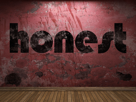 honest: honest word on red wall