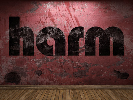 harm: harm word on red wall