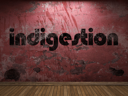 indigestion: indigestion word on red wall