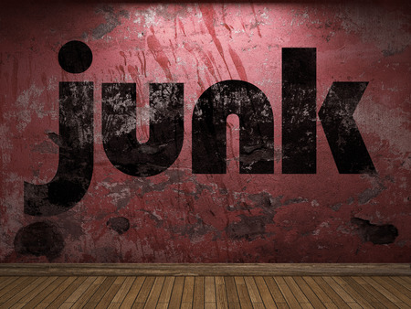 junk: junk word on red wall Stock Photo