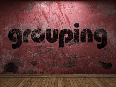 grouping: grouping word on red wall