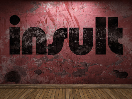 insult: insult word on red wall