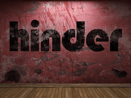 hinder: hinder word on red wall