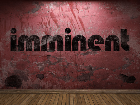 imminent: imminent word on red wall Stock Photo