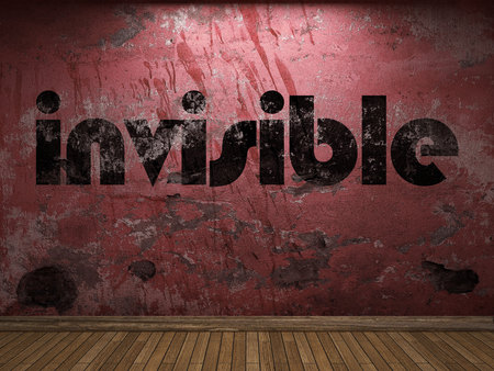 invisible: invisible word on red wall Stock Photo