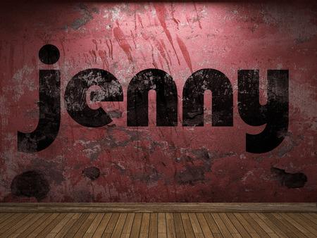 jenny: jenny word on red wall Stock Photo