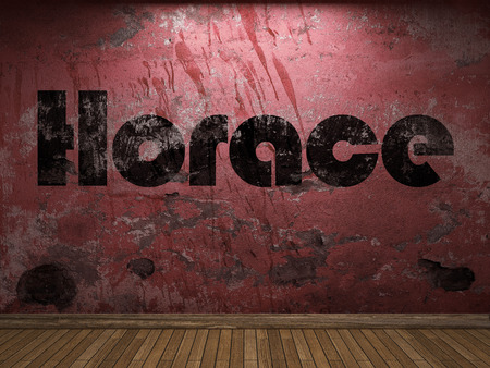 horace: Horace word on red wall Stock Photo