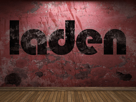 laden: laden word on red wall