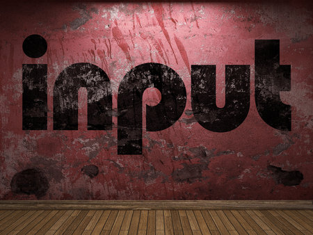 input: input word on red wall Stock Photo