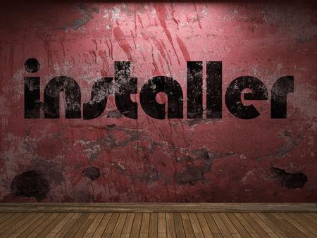 installer: installer word on red wall