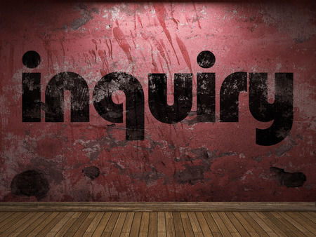 inquiry: inquiry word on red wall