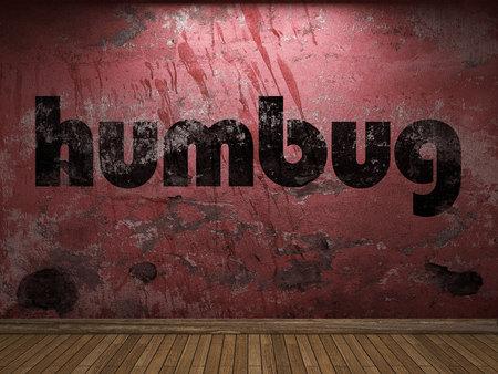 humbug: humbug word on red wall