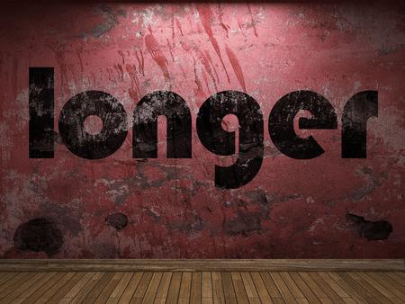longer: longer word on red wall