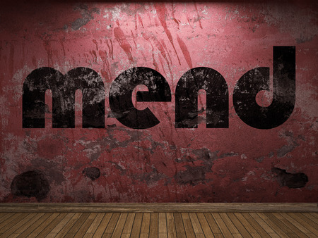 mend: mend word on red wall